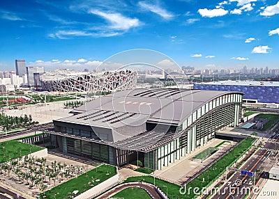 Lucht mening van het Olympische park van Peking Redactionele Stock Afbeelding