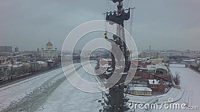 Lucht mooie de helikopterhommel van Moskou 4k stock video