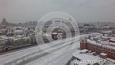 Lucht mooie de helikopterhommel van Moskou 4k stock videobeelden