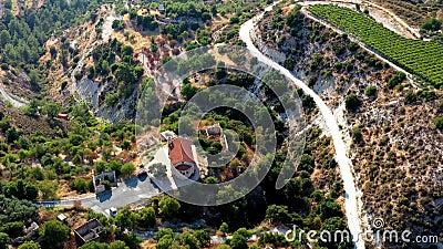 Luchtfoto's van verlaten Korfi-dorp, kerk en omgeving van Panagia Chrysokorfitissa district Limassol, Cyprus stock footage