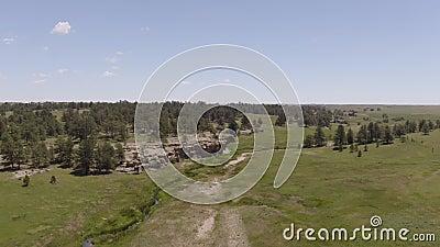 Luchtsatellietbeeld van de muur van de rotscanion en groen gebied stock video