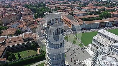 Luchtvideo van de Leunende Toren in de Zomer van Pisa Italië
