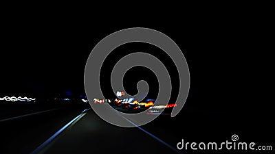Luci veloci della strada principale dall'automobile stock footage