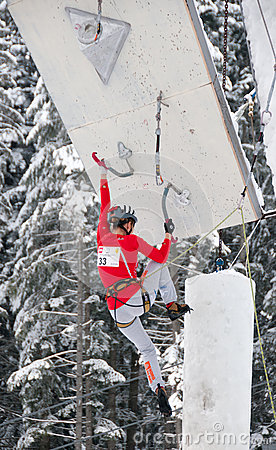 Lucie Hrozova climbing Editorial Stock Image