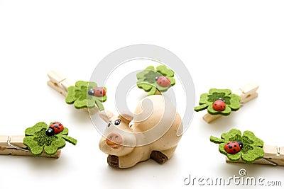 Luck pig with ladybug