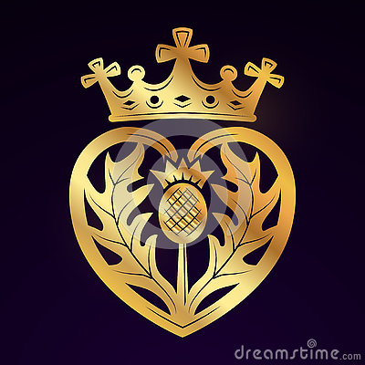 Free Luckenbooth Brooch Vector Design Element. Vintage Scottish Heart Shape With Crown Symbol Logo Concept. Valentine Day Or Royalty Free Stock Image - 76924266