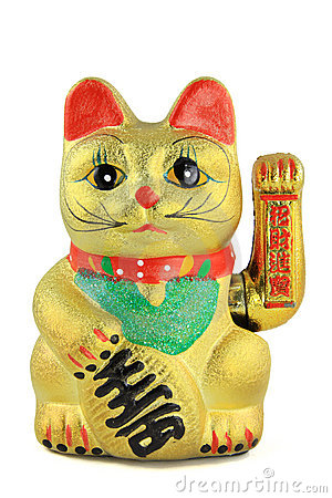 Pair of Lucky Cat Statues - Left Hand Up and Right Paw Up