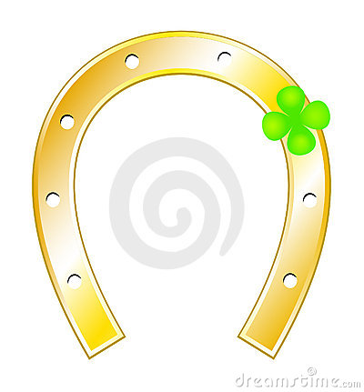 Lucky charms - Horseshoes and clover with four lea