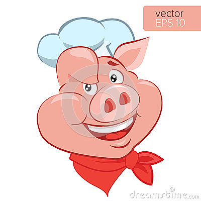 Free Lucky Cook. I Know How To Cook. Smile Pig Chef Head Cartoon Vector Illustration. Stock Photo - 84845590