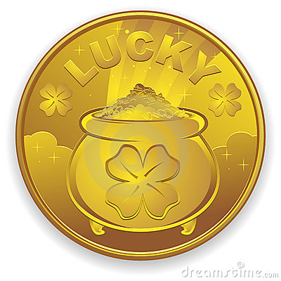 Free Lucky Gold Coin Royalty Free Stock Photo - 17705695