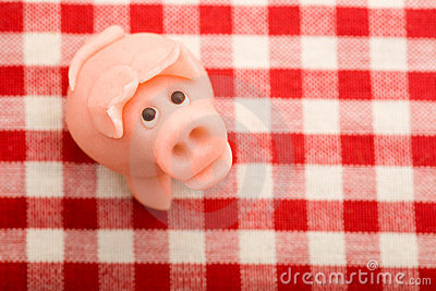 Lucky marzipan pig on tablecloth