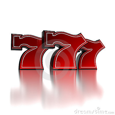 Lucky number seven over white background
