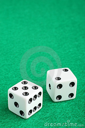 Free Lucky Seven Dice On Gambling Table Stock Photography - 8213092
