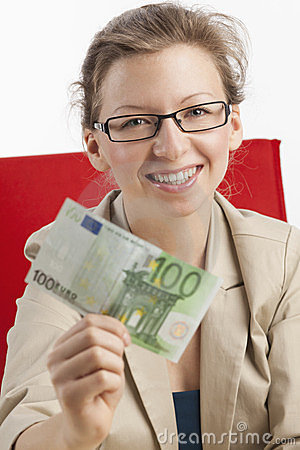 Lucky woman with one hundred euro banknote