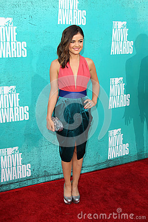Lucy Hale arriving at the 2012 MTV Movie Awards Editorial Photography