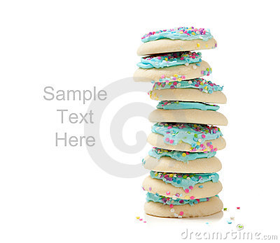 Lue sugar cookies on white and copy space