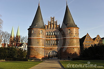 Luebeck, Holstentor Gate Editorial Stock Image