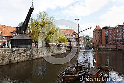 Lueneburg historic harbor with Old Crane