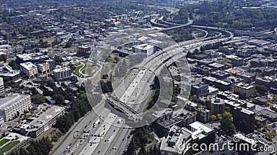Luft-timelapse Seattle, Washington Schnellstraße 4K stock video