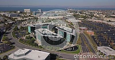 Luftaufnahmen von Sony-Play-Station Hauptquartier in san mateo california vereinigte Bundesstaaten Amerika stock video