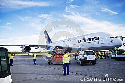 Lufthansa A380 at airport Editorial Photo
