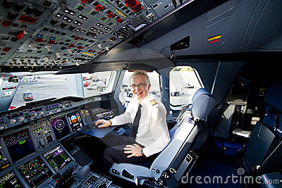 Lufthansa A380 cockpit and pilot Editorial Photography