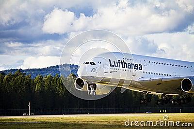 Lufthansa A380 landing Editorial Stock Image