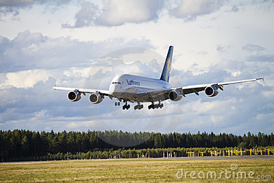 Lufthansa A380 landing 2 Editorial Photo