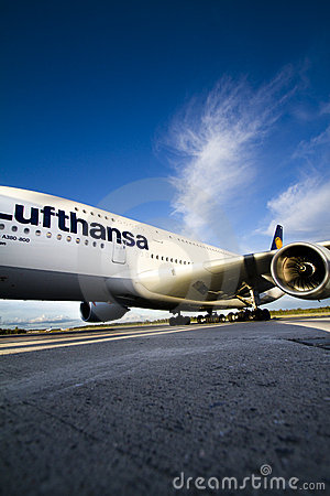 Lufthansa A380 at Oslo Airport 2 Editorial Image
