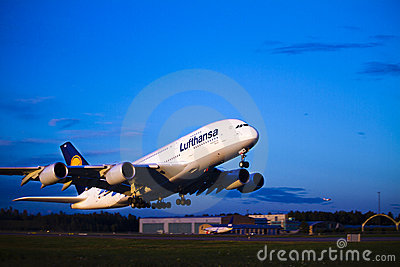 Lufthansa A380 takeoff Editorial Photo