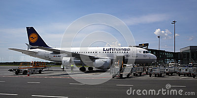 The Lufthansa air company jet after arrival Editorial Photography