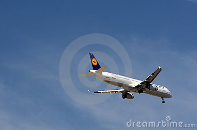 Lufthansa Airbus descending Editorial Image