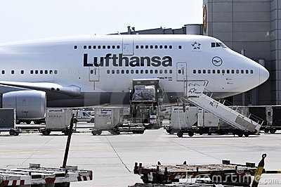 Lufthansa Boeing 747 at Frankfurt am Main airport Editorial Stock Image