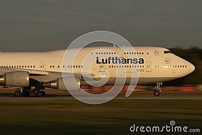Lufthansa Jumbo panning Editorial Image
