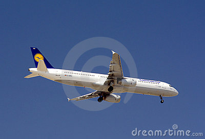 Lufthansa Plane descending Editorial Image