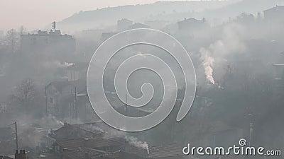 Luftverschmutzung Herd brennender Kohlendioxidrauch stock video