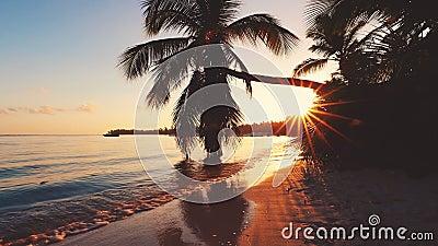 Luftvideoaufnahmen des karibischen tropischen Strandes mit Palmen und wei?em Sand Reise und Ferien stock video footage