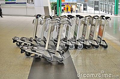 Luggage cart at Hong Kong Airport Editorial Photo