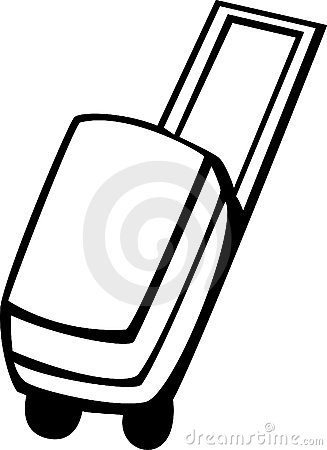 Luggage case with wheels vector illustration