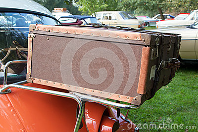 Luggage on classic car