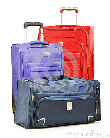 Luggage consisting of large suitcases and travel bag on white