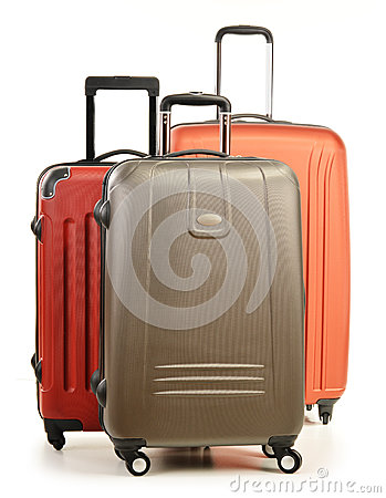 Luggage consisting of large suitcases on white