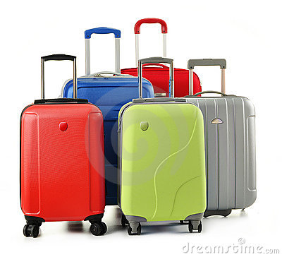 Luggage consisting of suitcases isolated on white