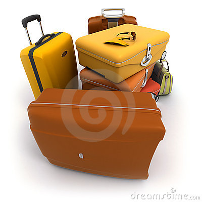 Free Luggage Kit In Ochre Shades Royalty Free Stock Photo - 5435195
