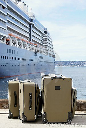 Luggage Next To Cruise Ship on Dock