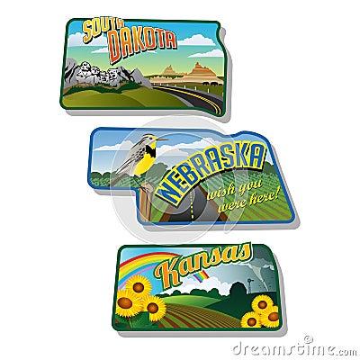 Luggage stickers South Dakota Nebraska Kansas