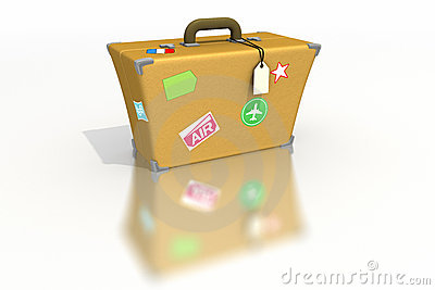 Luggage with stickers and tags