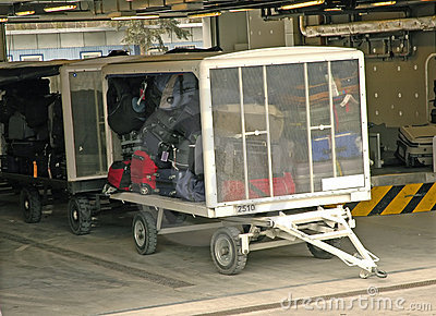 Luggage trolley ready to transport