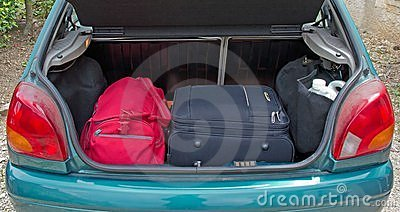Luggage in the trunk of the car