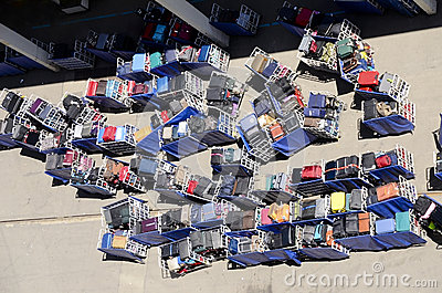 Luggage Waiting to be Loaded on a Cruise Ship
